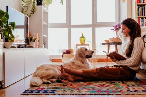 Women with her pet dog on carpet