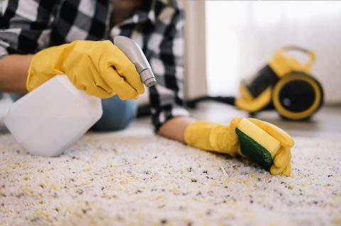 Carpet cleaning with chemicals